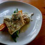 Halibut, beans, carrot and horseradish crema