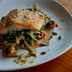 Coho and Zuchinni noodles with bok choy